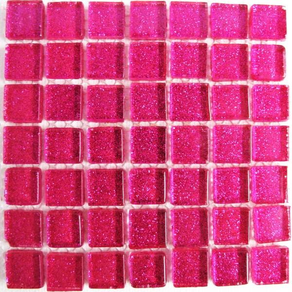 cerise, pink, bright pink, mini,plain,  mosaic tile, crystal glass, glass tiles, glitter, mosaic mad
