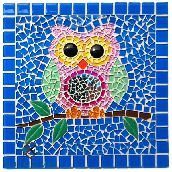 owl, mosaic kit, funky owl, mosaic mad, mosaic kit, DIY project